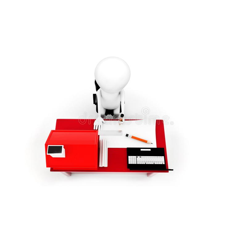 dessin de l'homme 3d sur le papier sur un bureau avec le petit modèle de la maison et illustration libre de droits