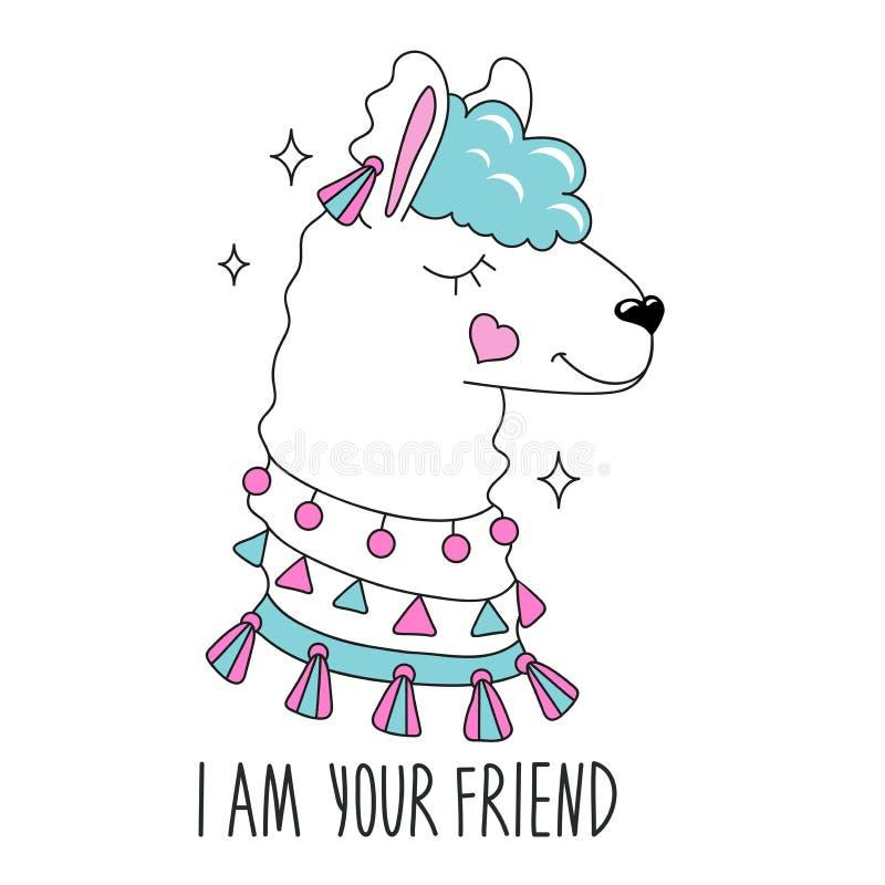 Dessin de lama d'art pour des T-shirts Je suis votre texte d'ami Conception pour des enfants Façonnez le dessin d'illustration da illustration de vecteur