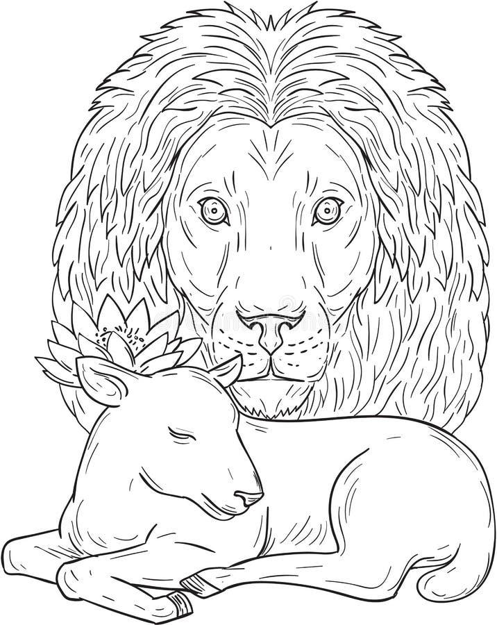 Dessin de Lion Watching Over Sleeping Lamb illustration libre de droits