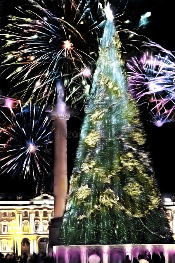 Dessin de médias mixtes, arbre du Nouvel An sur Place du Palais, Saint-Pétersbourg, Russie photographie stock libre de droits