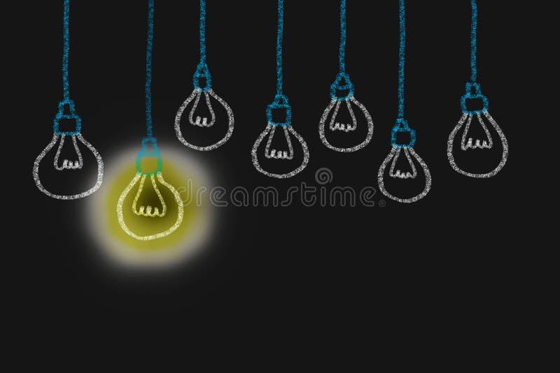 Dessin de main avec l'idée de lumière d'ampoule concept de grand inspirat d'idées photos libres de droits