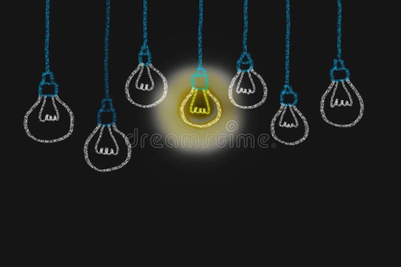 Dessin de main avec l'idée de lumière d'ampoule concept de grand inspirat d'idées photo stock