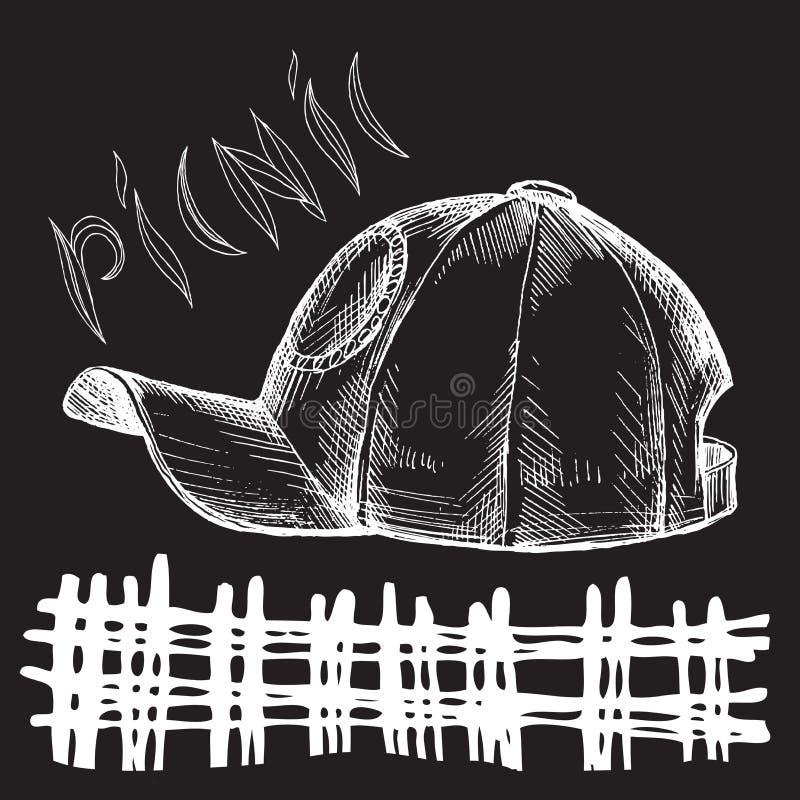 Dessin de main de craie Élément pour un griffonnage de style du pique-nique sur un fond noir de conseil Chapeau de chapeau d'été illustration de vecteur