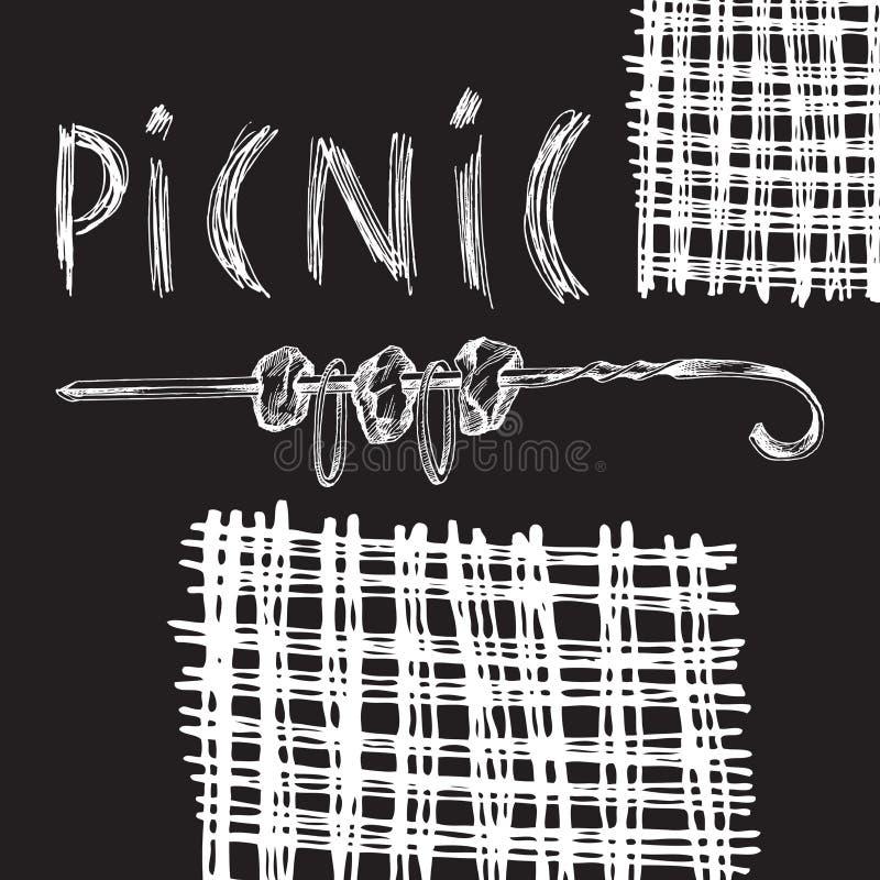 Dessin de main de craie Élément pour un griffonnage de style du pique-nique sur un fond noir de conseil Chiche-kebab sur une broc illustration de vecteur