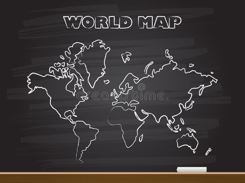Dessin de main de craie avec la carte du monde Illustration de vecteur illustration de vecteur