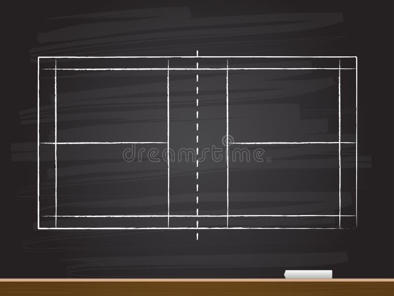 Dessin de main de craie avec la cour de badminton Illustration de vecteur illustration stock