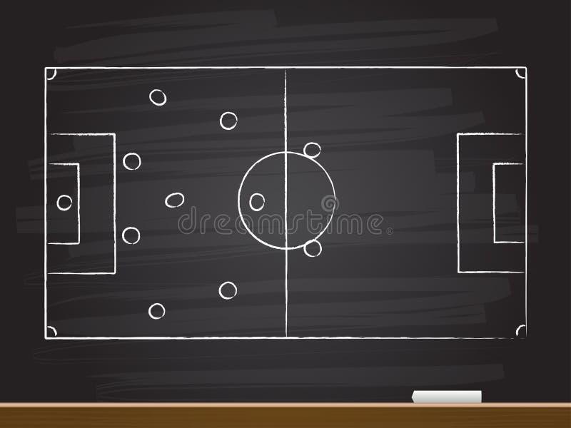 Dessin de main de craie avec la strat?gie de jeu de football Illustration de vecteur illustration libre de droits