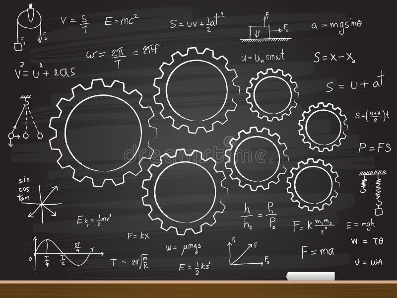 Dessin de main de craie avec la vitesse et l'équation Illustration de vecteur illustration stock