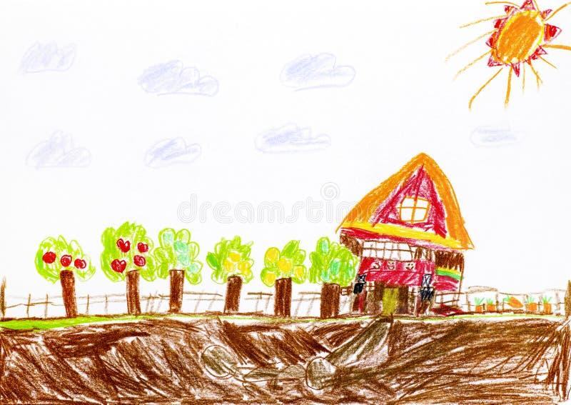 Dessin de main de crayon d'enfant Chambre avec le verger et le jardin illustration libre de droits