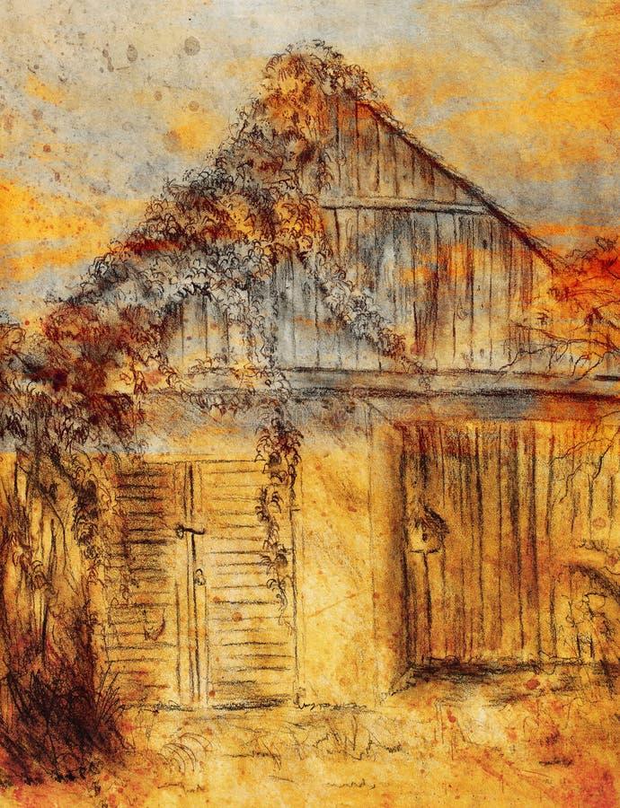Dessin de main de cottage et vigne sauvage Draving sur le vieux papier illustration stock