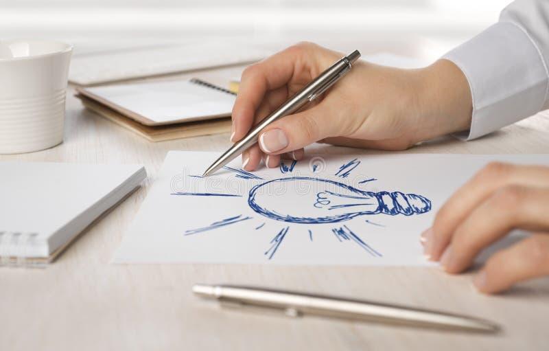 Dessin de main de femme d'affaires sur le papier une ampoule image libre de droits