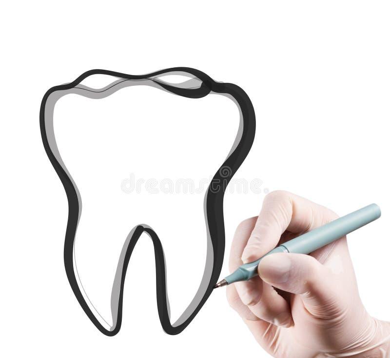 Dessin de main dents photo libre de droits