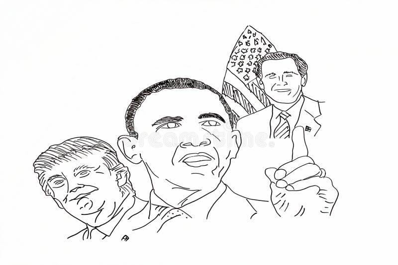 Dessin de main des politiciens américains image stock