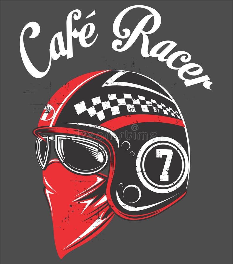 Dessin de main du casque une moto classique de coureur de café illustration de r, aspiration manuelle de main d'artrwork d'ENV illustration libre de droits