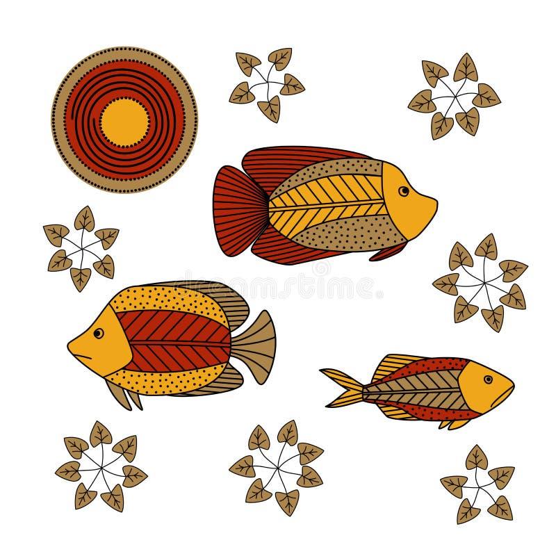 Dessin de main - poissons, algue illustration libre de droits