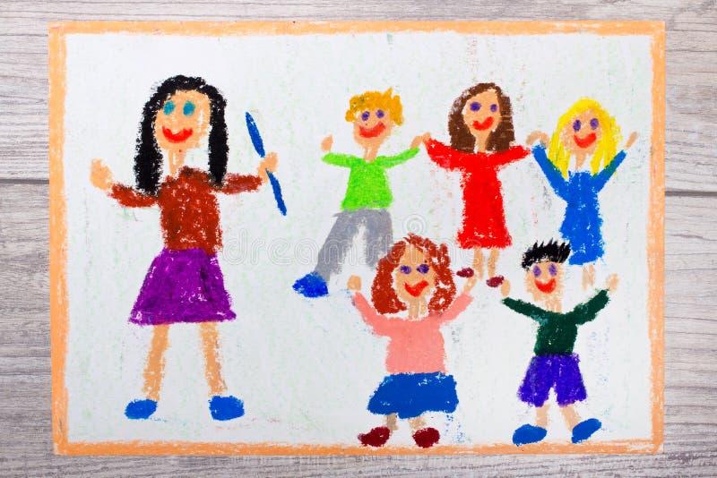 Dessin de main : professeur de sourire et ses étudiants illustration de vecteur
