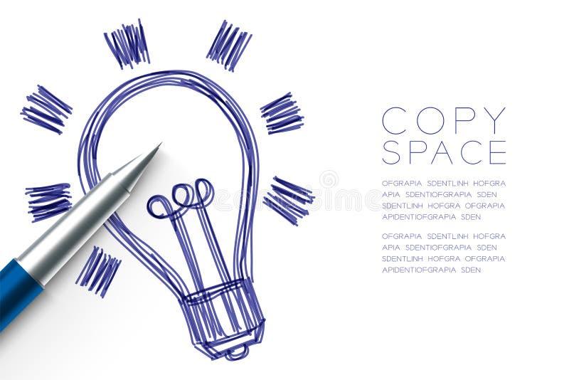 Dessin de main de symbole d'ampoule par couleur bleue de croquis de stylo, conception de l'avant-projet créative illustration libre de droits