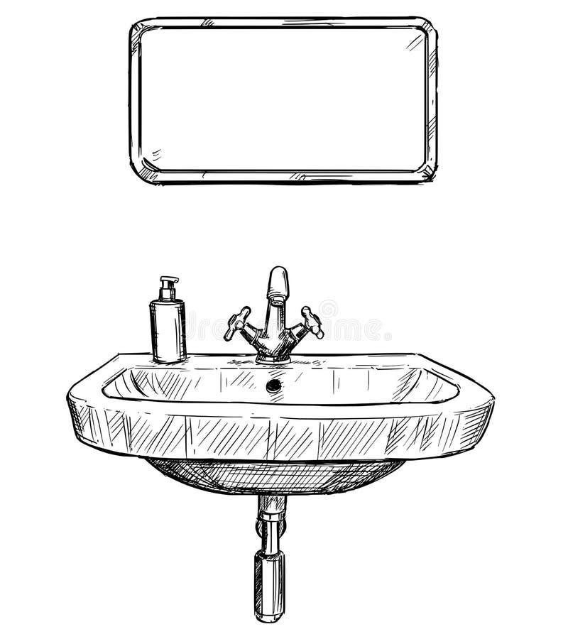 dessin de main de vecteur d 39 vier et de miroir dans la. Black Bedroom Furniture Sets. Home Design Ideas