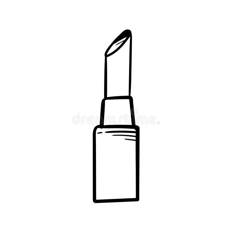 Dessin de main de vecteur d'icône de griffonnage de rouge à lèvres illustration de vecteur