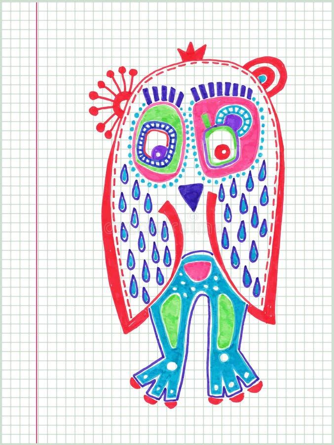 Dessin de marqueur de hibou de griffonnage illustration libre de droits