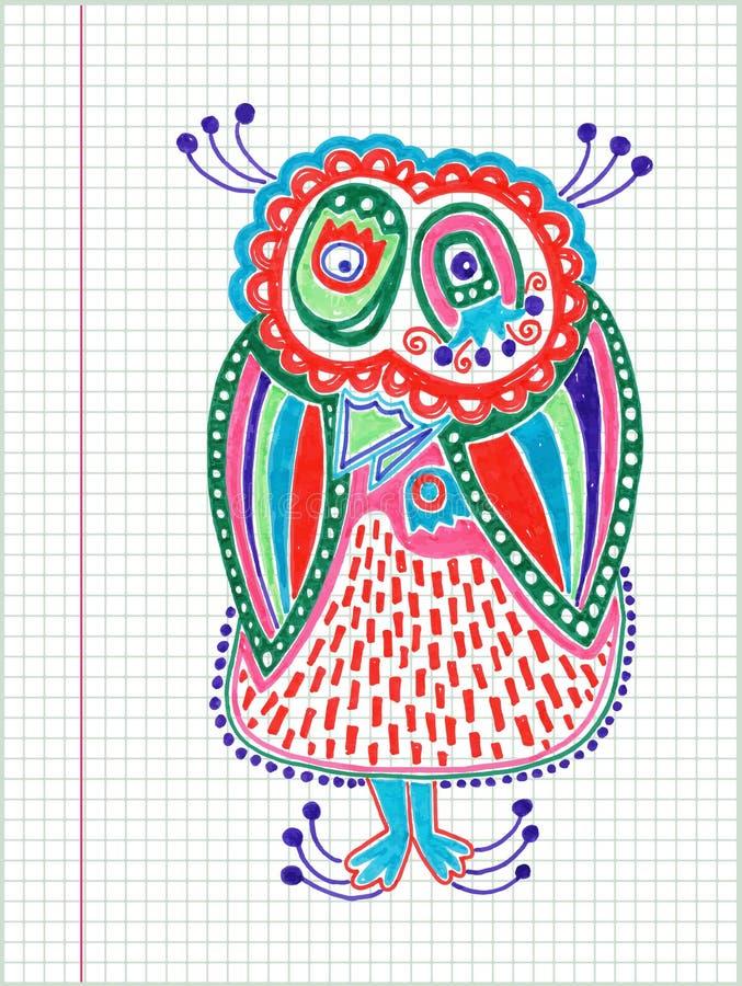 Dessin de marqueur de hibou de griffonnage illustration stock