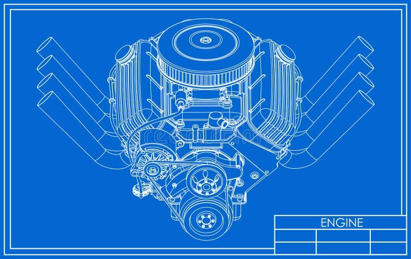 Dessin de moteur de V8 de hot rod illustration libre de droits