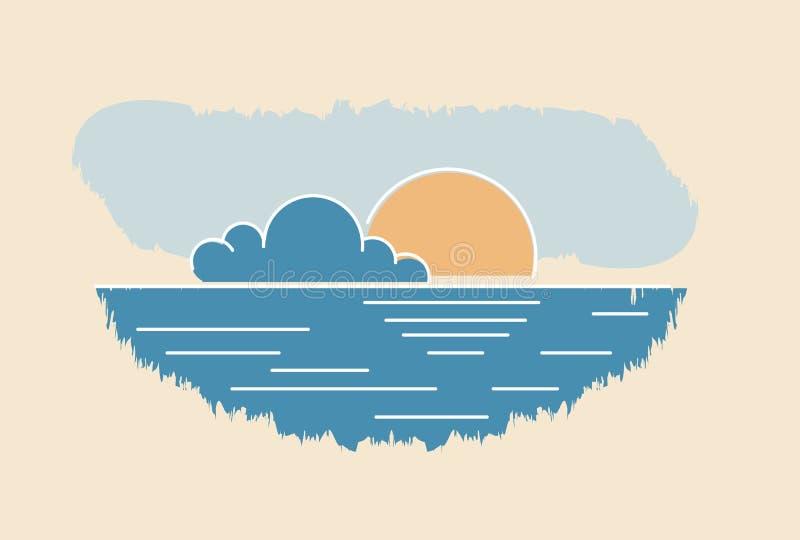Dessin de paysage marin de nuage de Sun Illust abstrait de vecteur de coucher du soleil d'été illustration libre de droits