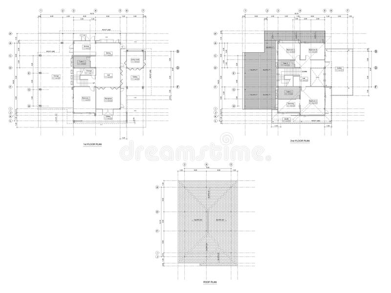 Dessin de plan d 39 architecture illustration stock for Dessin plan architecture