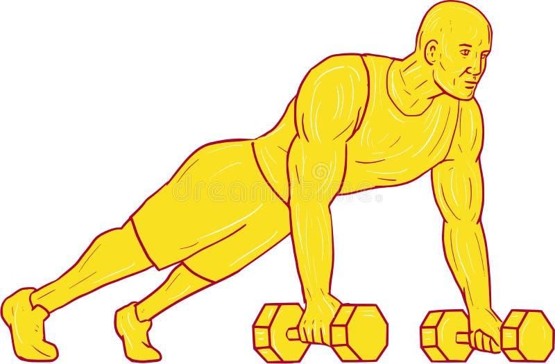Dessin de Push Up Dumbbell d'athlète de forme physique illustration de vecteur