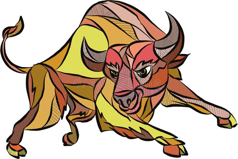 Dessin de remplissage de Raging Bull illustration de vecteur