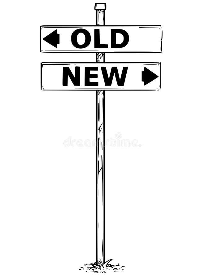 Dessin de signe de deux flèches de vieilles ou nouvelles flèches de décision illustration stock