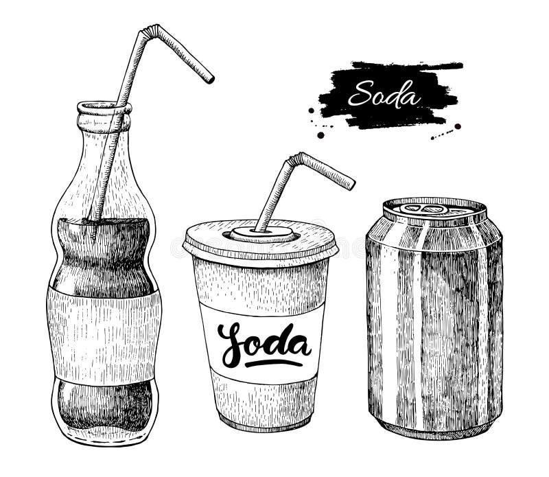 Dessin de soude de vecteur Illustrations tirées par la main de soude illustration libre de droits