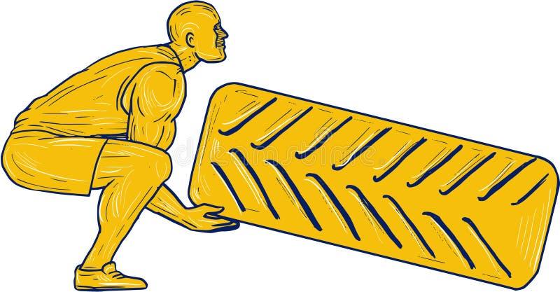 Dessin de Squatting Lifting Tire d'athlète de forme physique illustration libre de droits