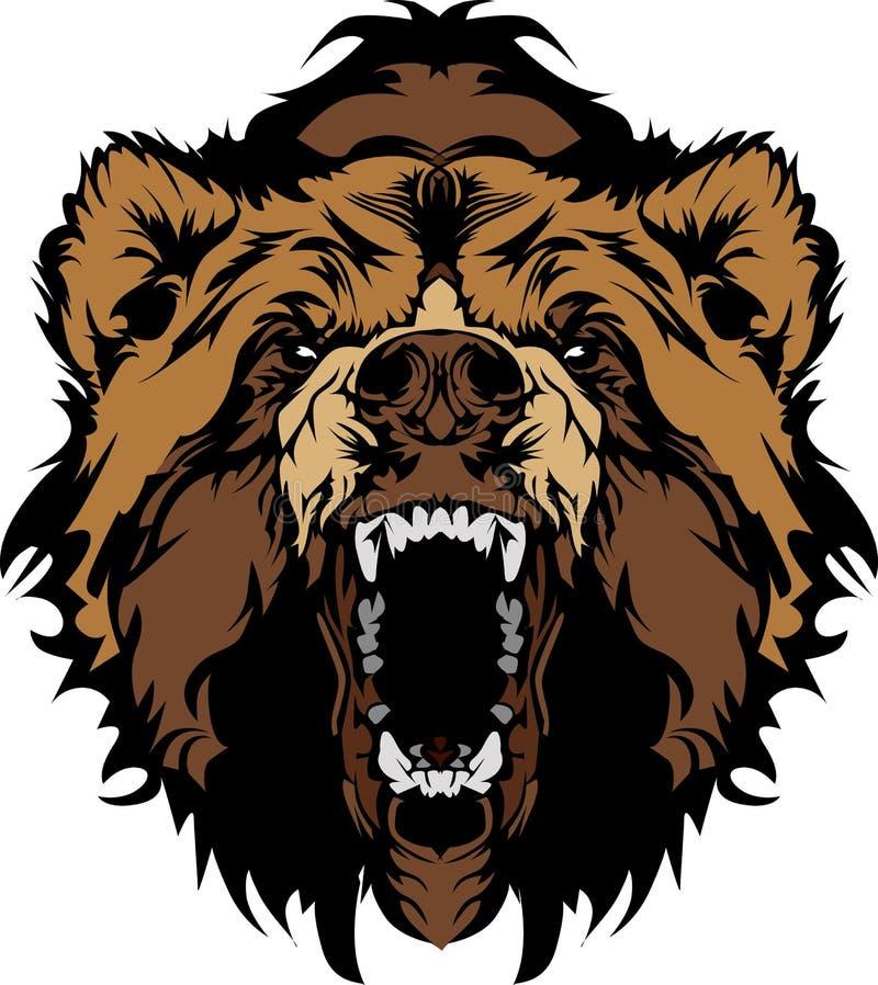 Dessin de tête de mascotte d'ours gris illustration de vecteur