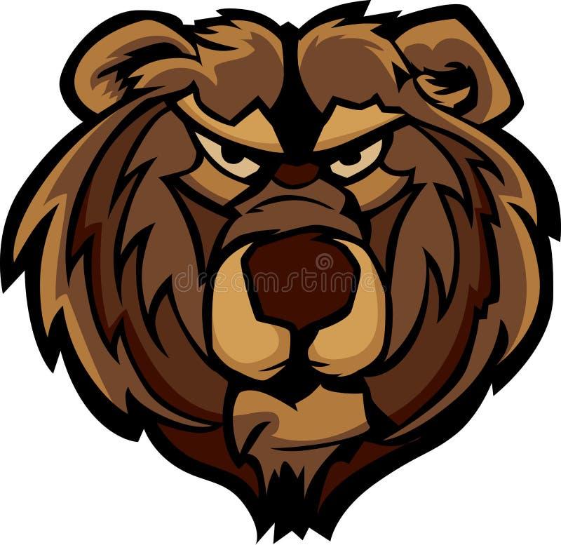 Dessin de tête de mascotte d'ours gris illustration stock