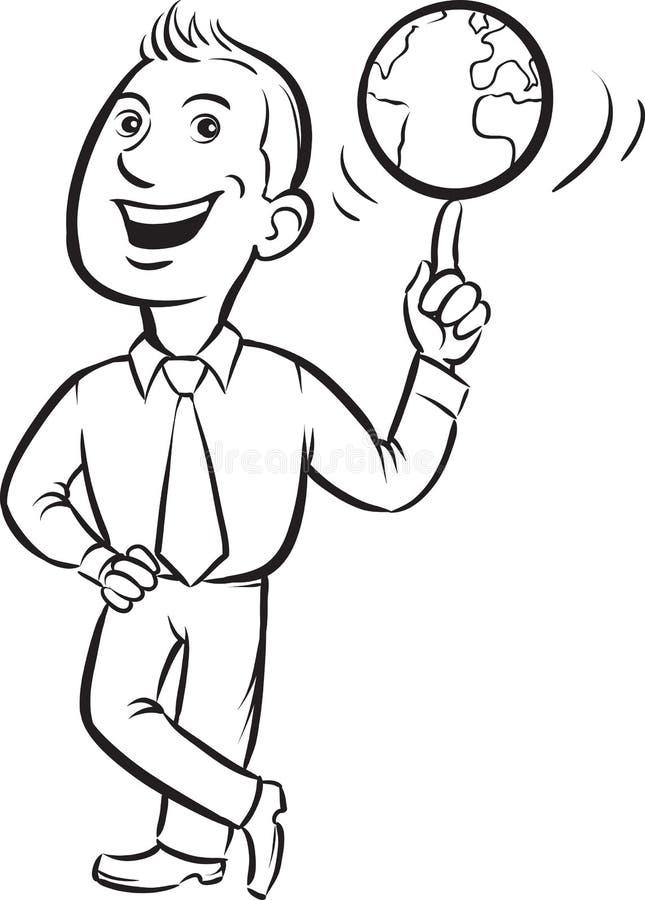 Dessin de tableau blanc - globe de rotation d'homme d'affaires sur le doigt illustration libre de droits