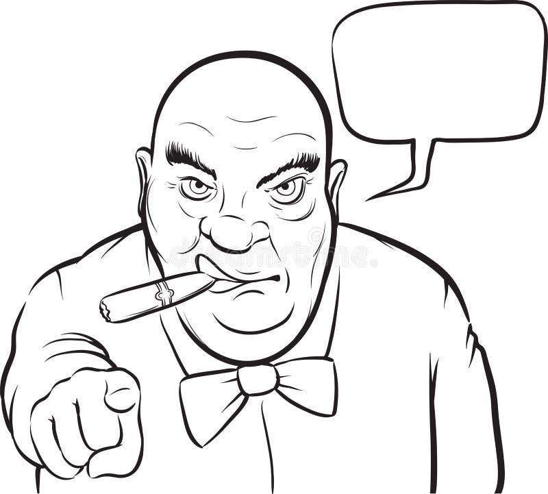 Dessin de tableau blanc - patron sérieux de bande dessinée avec la bulle de la parole illustration de vecteur