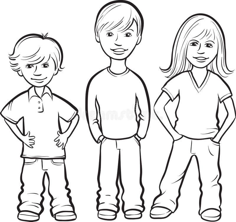 Dessin de tableau blanc - position heureuse de trois enfants illustration libre de droits