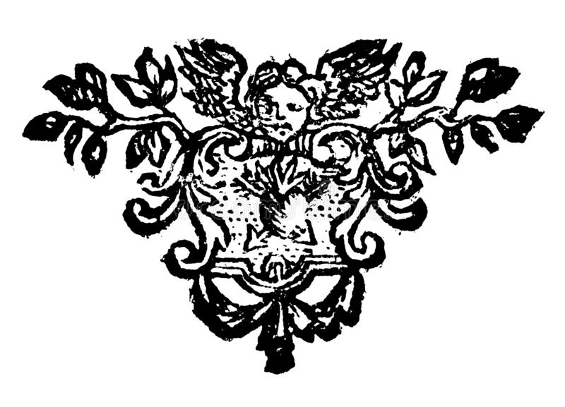 Dessin de vecteur de cru ou gravure de la conception florale antique de décoration d'Angel Holding Sign avec le coeur illustration de vecteur