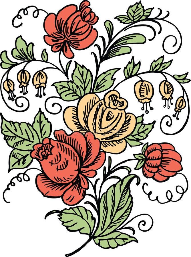 Dessin de vecteur d'un groupe décoratif de fleurs stylisées illustration stock