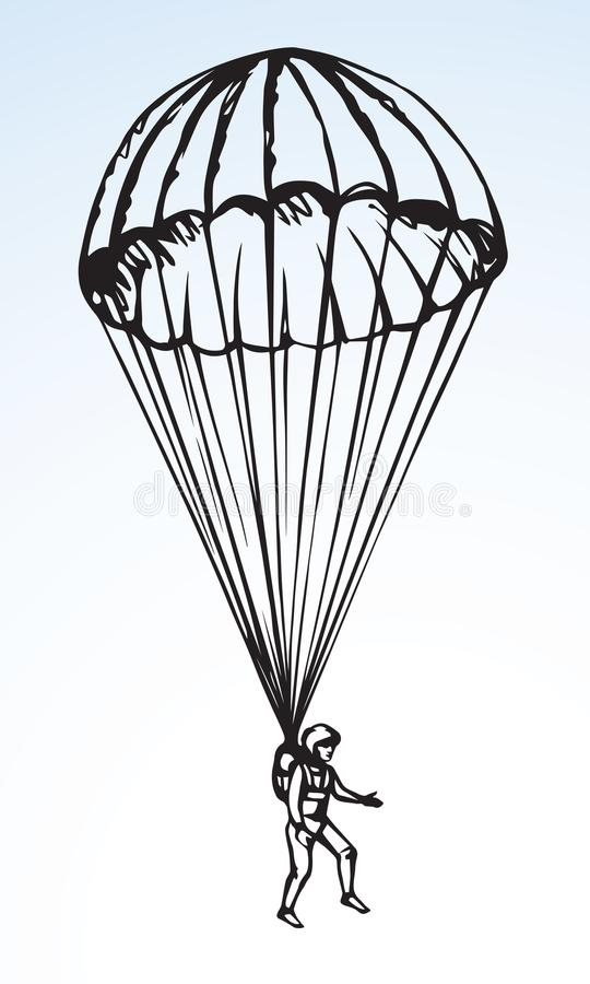 Dessin de vecteur de parachutiste illustration de vecteur