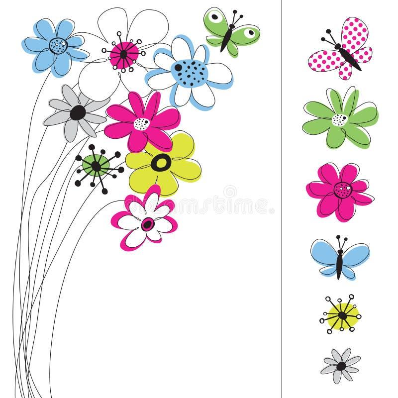 Dessin de vecteur réglé avec des fleurs illustration stock