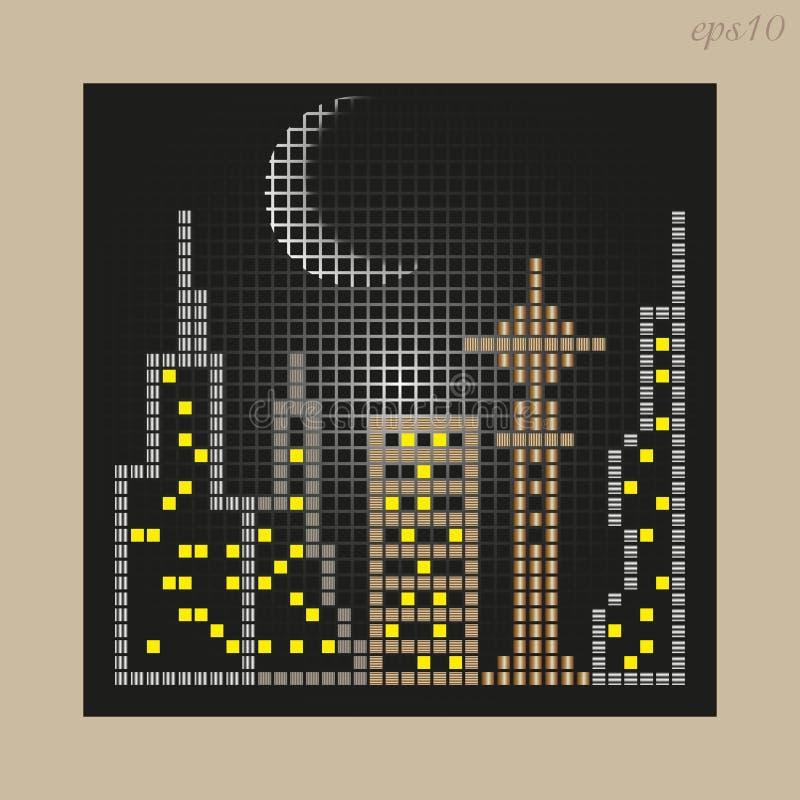 Dessin de ville de mosaïque illustration de vecteur