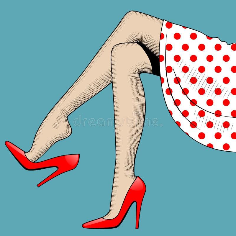 Dessin de vintage de belles jambes de femme dans des chaussures à talons hauts rouges illustration libre de droits