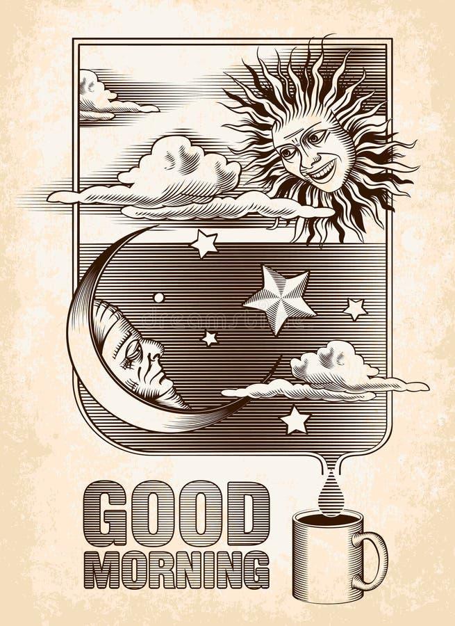 Dessin de vintage du soleil, de la lune et des étoiles Bon illustration stock