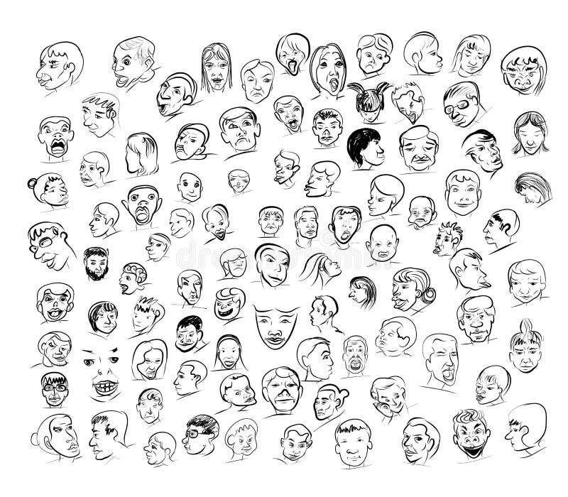 Préférence Dessin De Visage Avec Des Beaucoup émotion Illustration de Vecteur  RF19