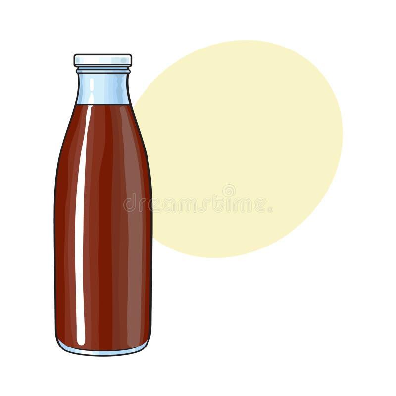 Dessin de vue de côté de bouteille avec le lait chocolaté, boisson de cacao illustration libre de droits