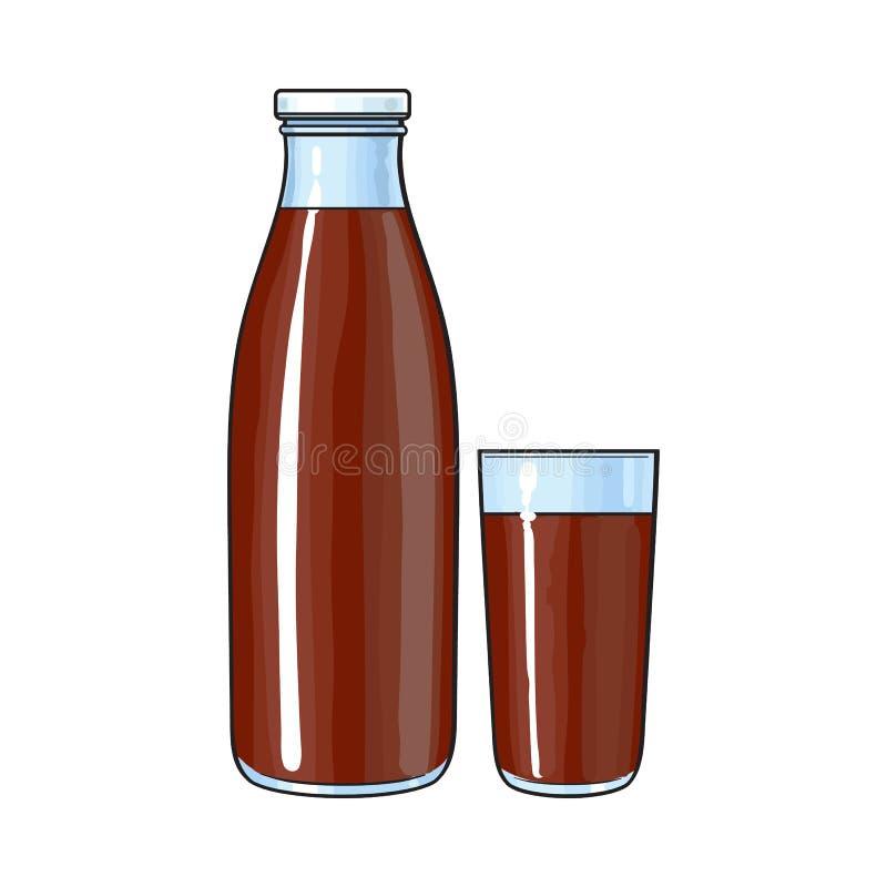 Dessin de vue de côté de bouteille et de verre avec le lait chocolaté illustration stock