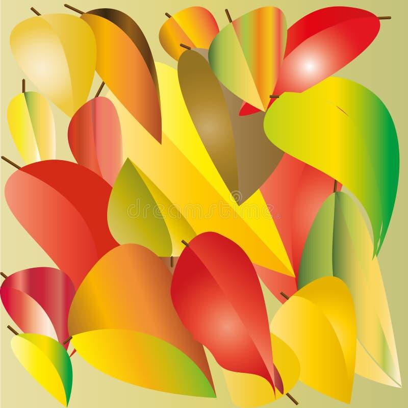 Dessin des feuilles rouges, jaunes et vertes illustration stock