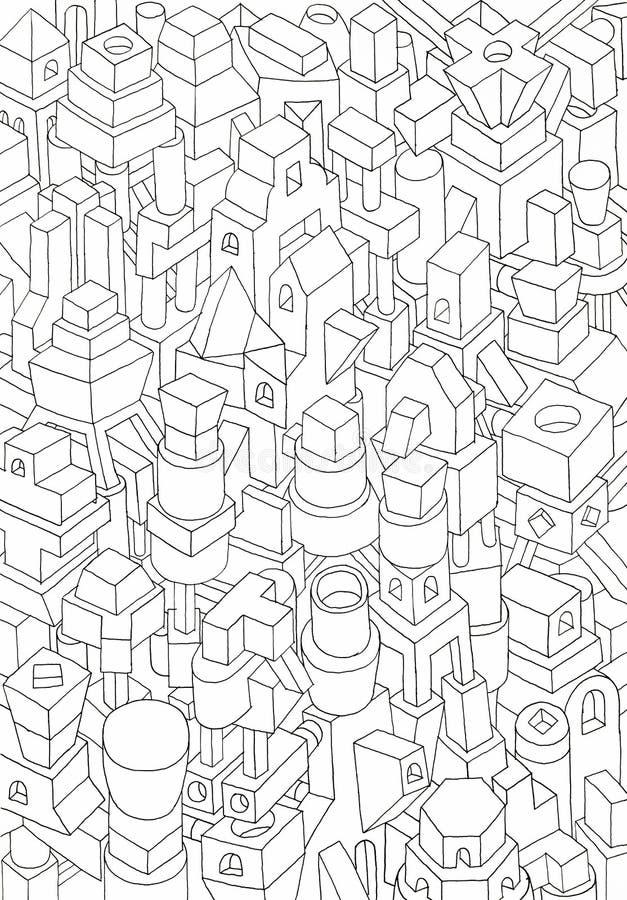 Dessin des formes géométriques sur un papier illustration de vecteur